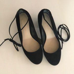 Leoffler Randall ankle tie squeeze low heels.